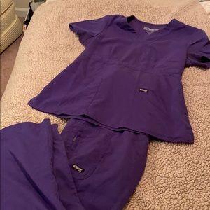 Purple scrubs